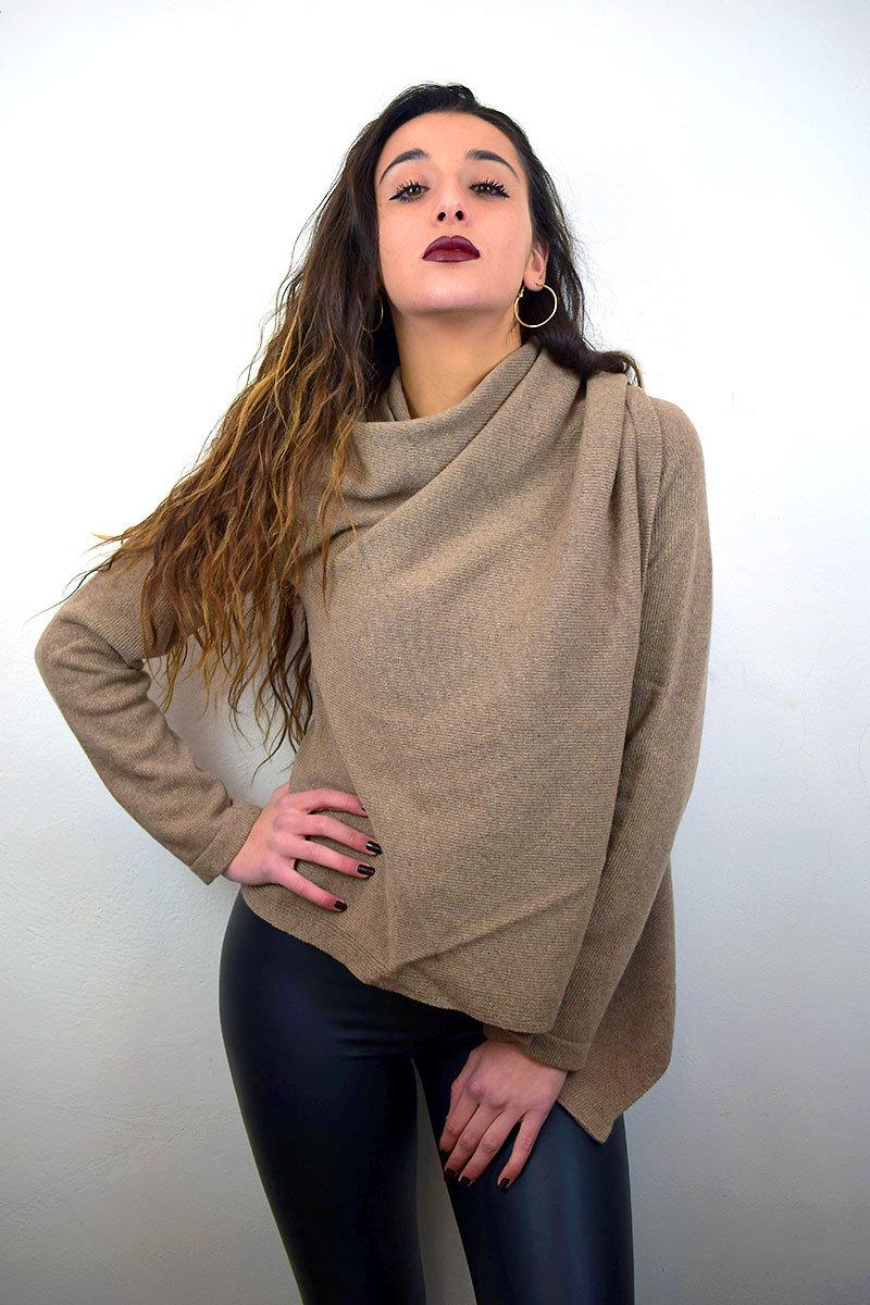 Cardigan donna color nocciola in puro Cashmere