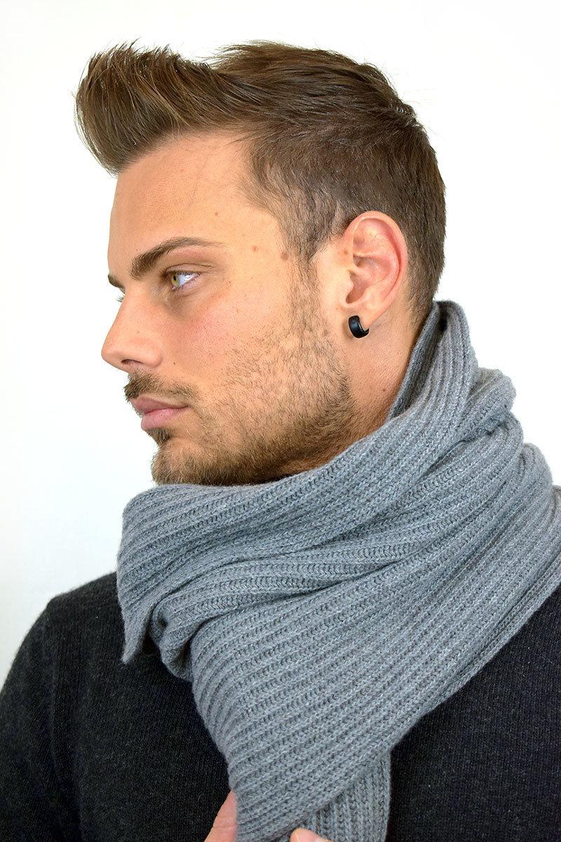 Sciarpa Uomo color grigio in Puro Cashmere