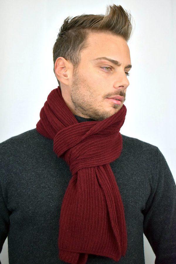 Sciarpa Uomo color rosso in Puro Cashmere