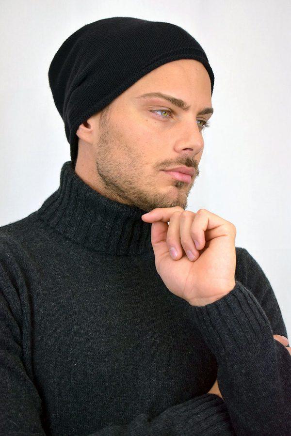 Cappello nero puro Cashmere