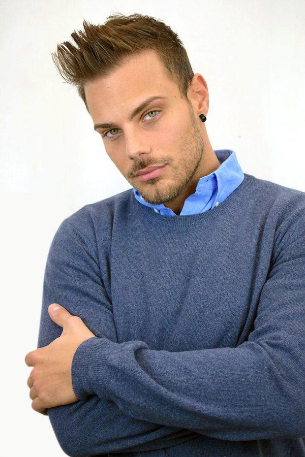 Maglione da uomo color azzurro avio in Puro Cashmere