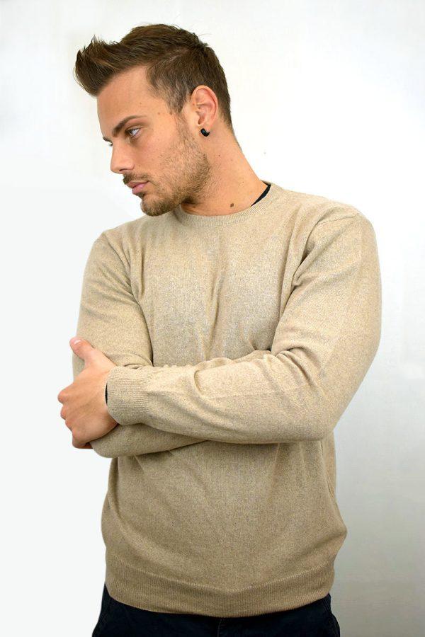 Maglione da uomo color beige in Puro Cashmere