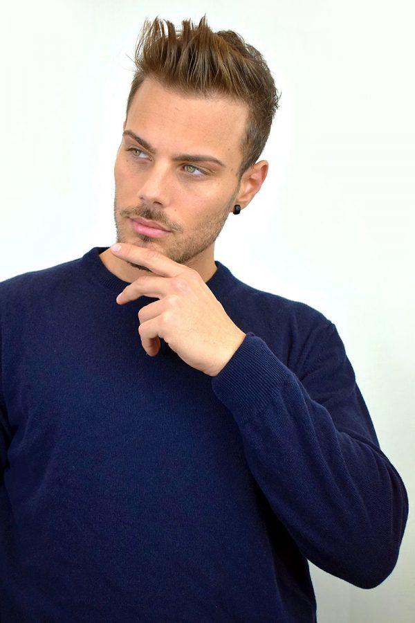Maglione da uomo color blu in Puro Cashmere