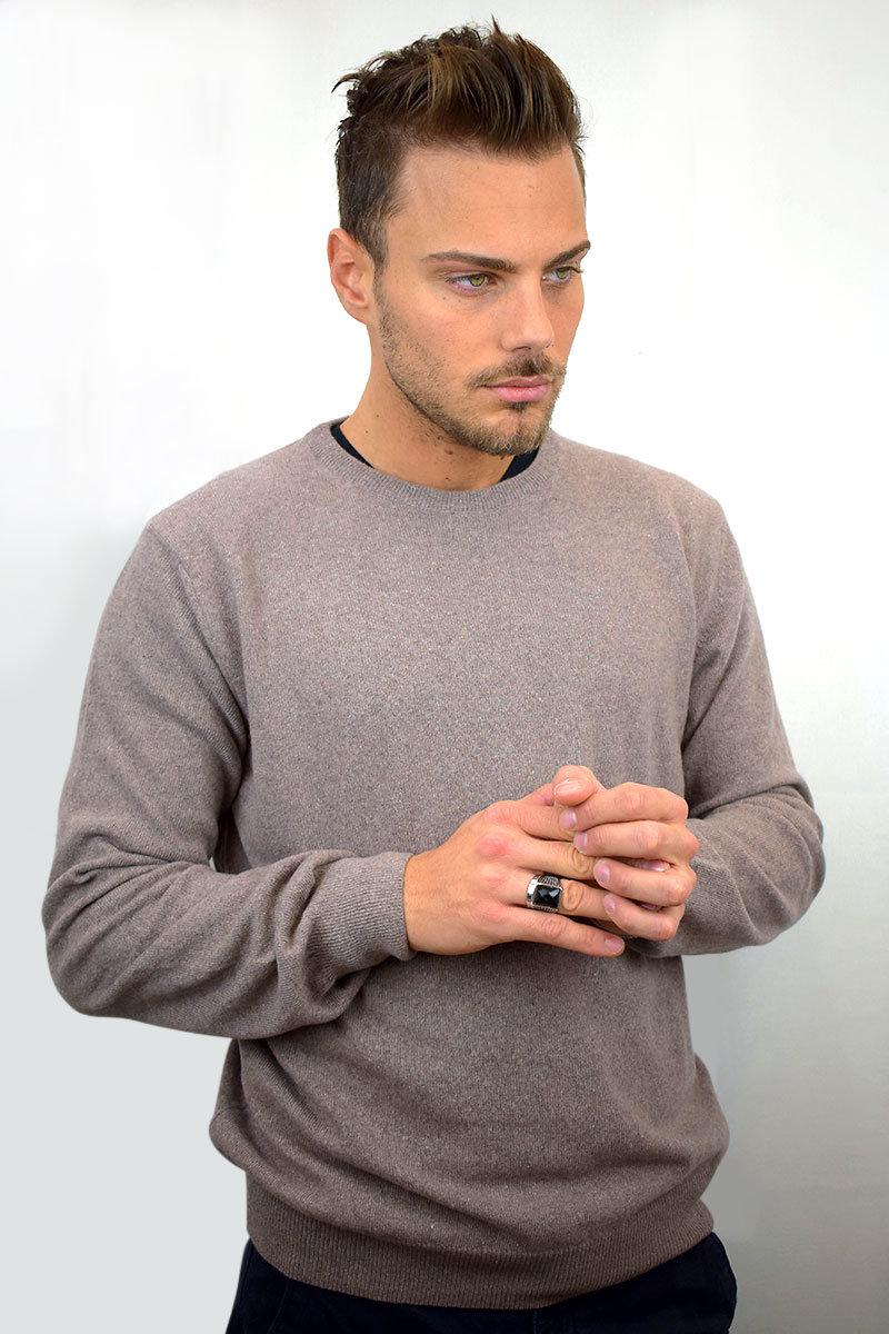 Maglione da uomo color nocciola in Puro Cashmere