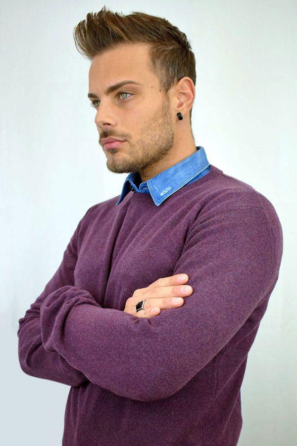 Maglione da uomo color bordeaux in Puro Cashmere