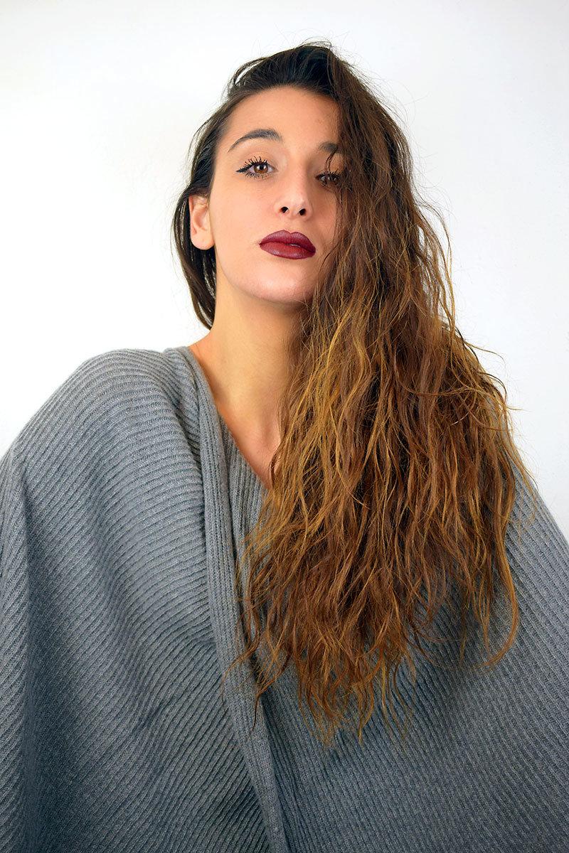 Poncho color grigio in Puro Cashmere donna