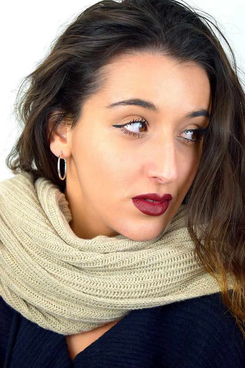 Sciarpa donna color beige in puro Cashmere
