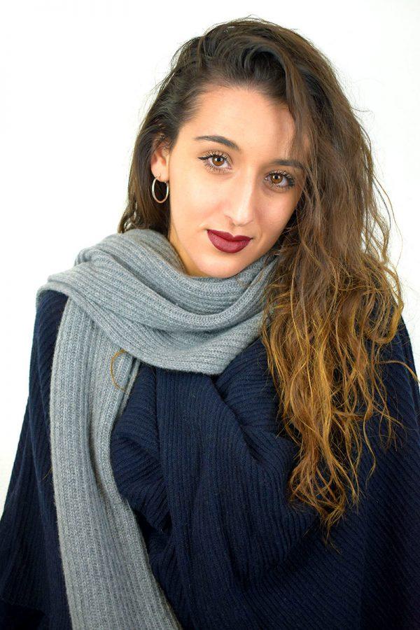 Sciarpa donna color grigio in puro Cashmere