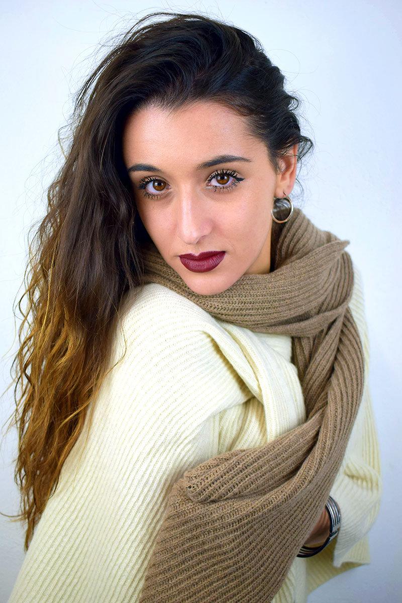 Sciarpa donna color nocciola in puro Cashmere