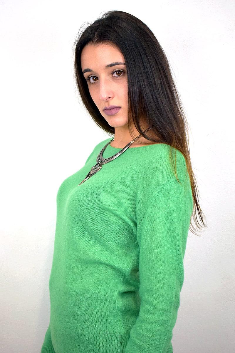 Maglioncino donna in Cashmere Primaverile - Verde