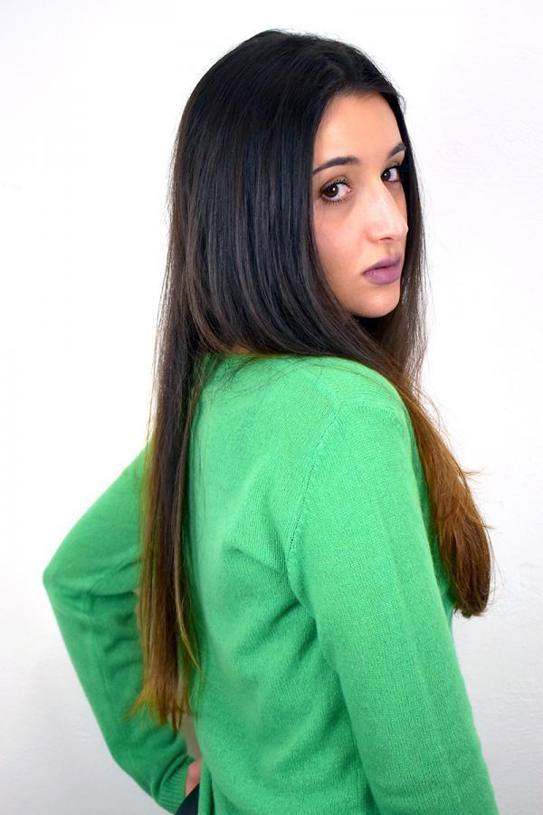Maglioncino scollo a V primaverile - Verde