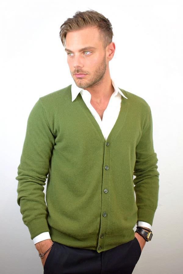 Cardigan uomo in Puro Cashmere - Verde