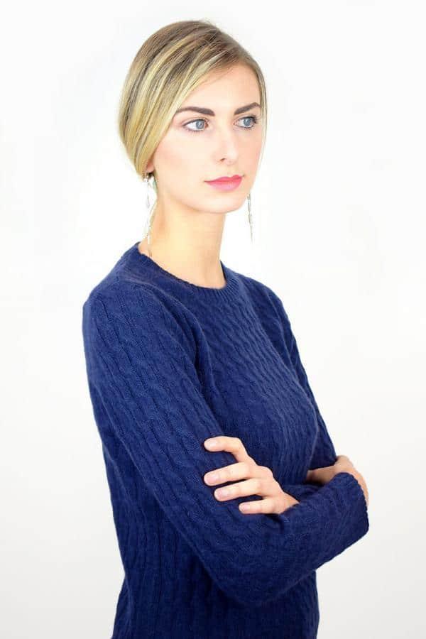 Treccia donna in Puro Cashmere - Blu