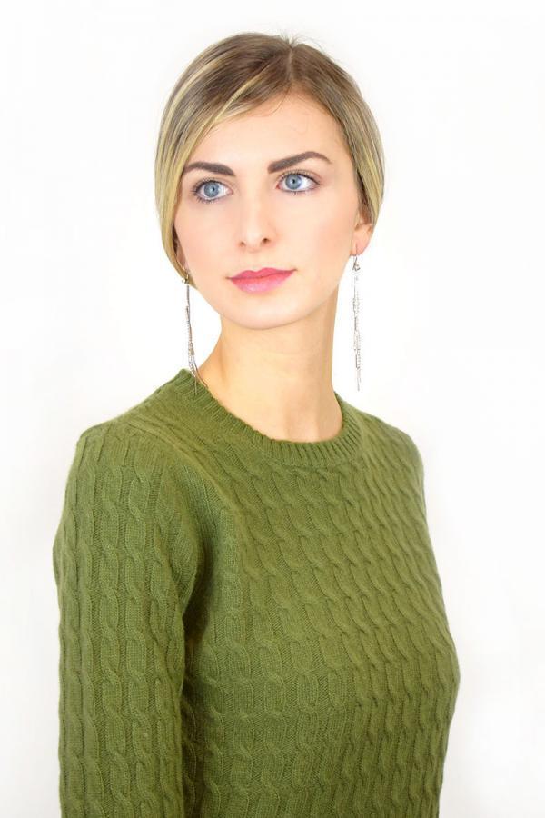 Treccia donna in Puro Cashmere - Verde