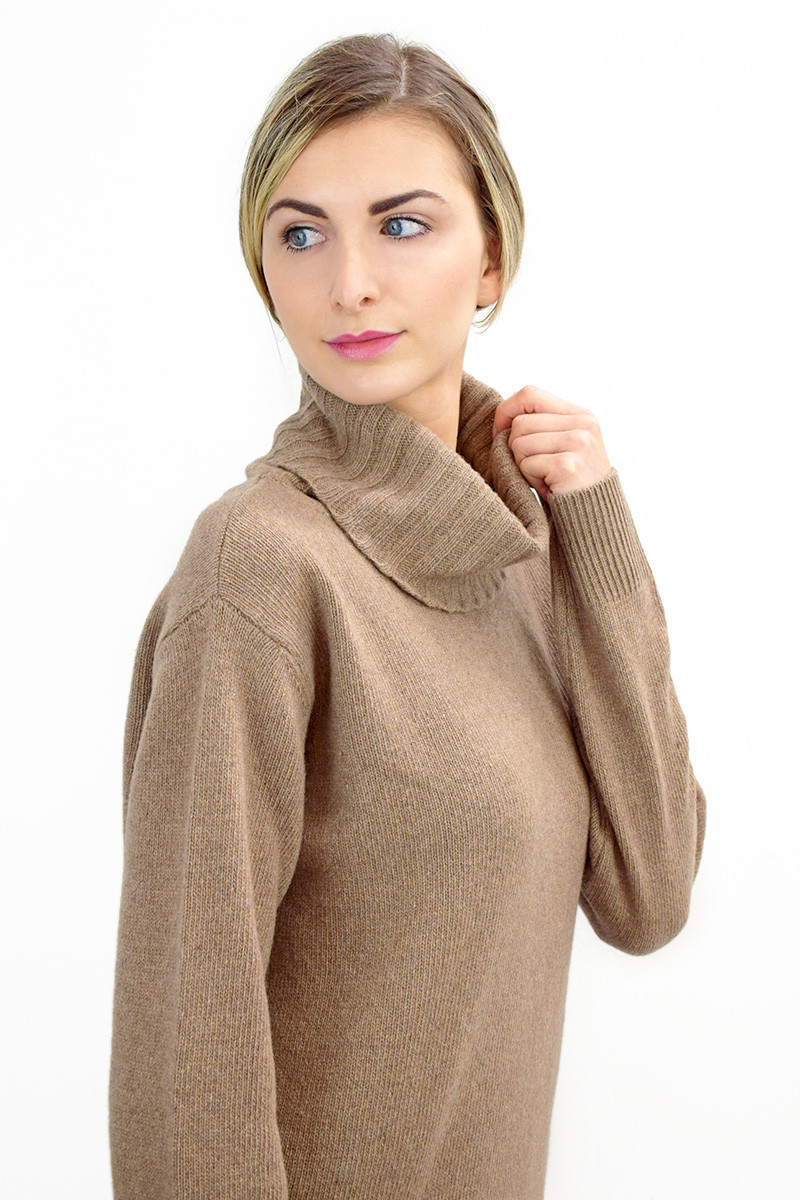 Vestito donna in Eco Cashmere - Marrone