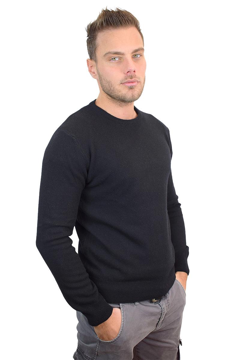 maglioncino paricollo nero in cashmere da uomo2