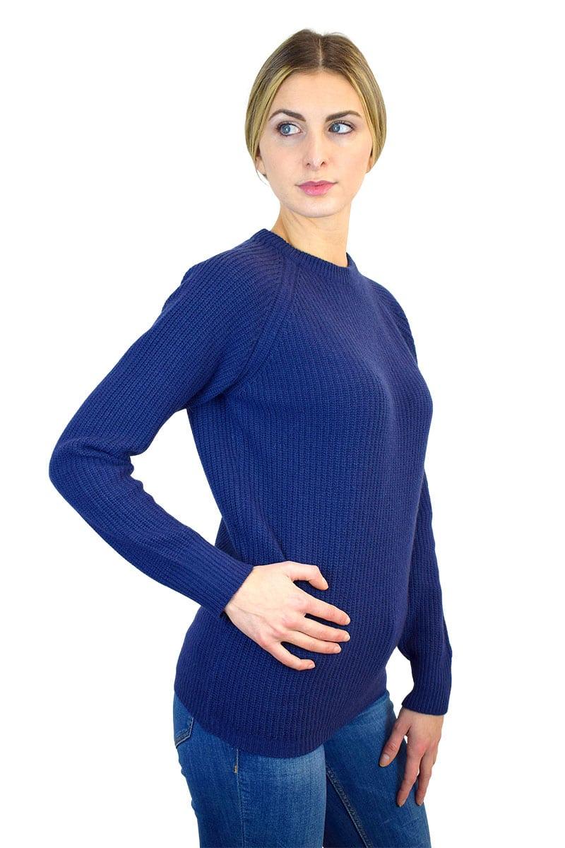 maglia inglese donna paricollo blu