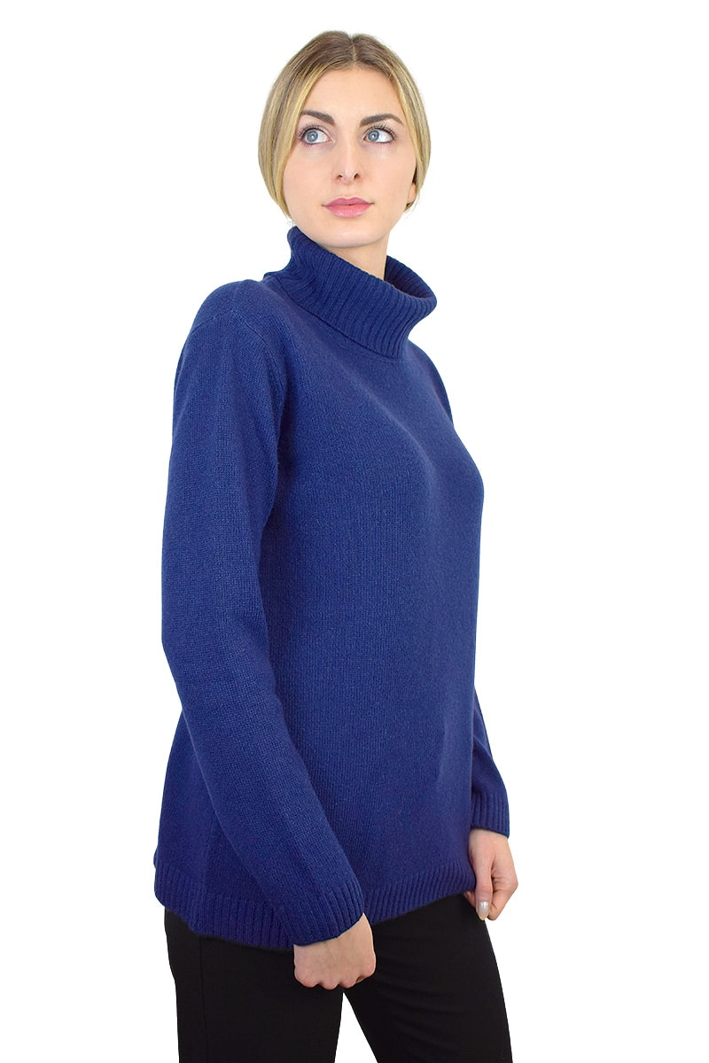 Maglione a collo alto - Blu