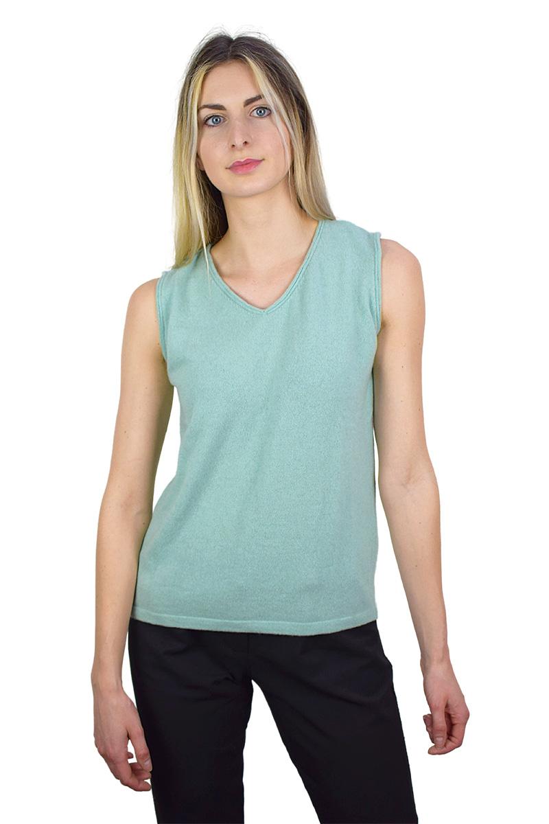pullover smanicato acquamarina da donna2