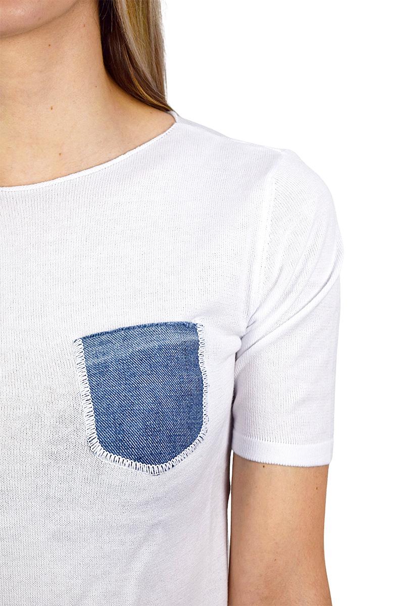 t-shirt bianca con taschino in jeans cotone bio da donna2