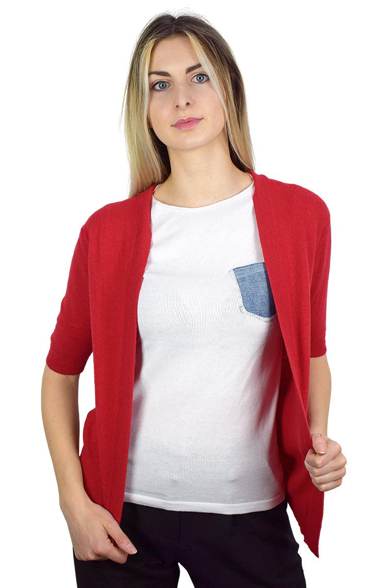 t-shirt bianca con taschino in jeans cotone bio da donna