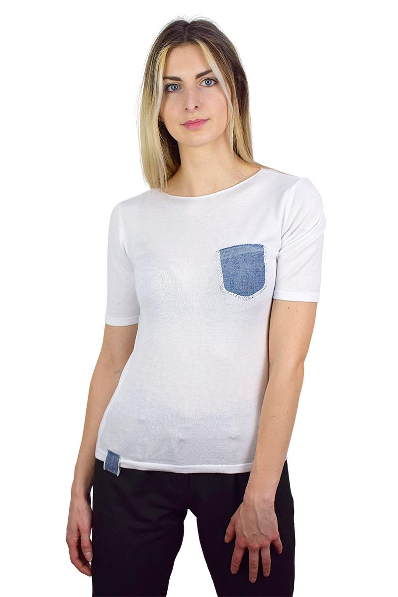 t-shirt bianca con taschino in jeans cotone bio da donna3