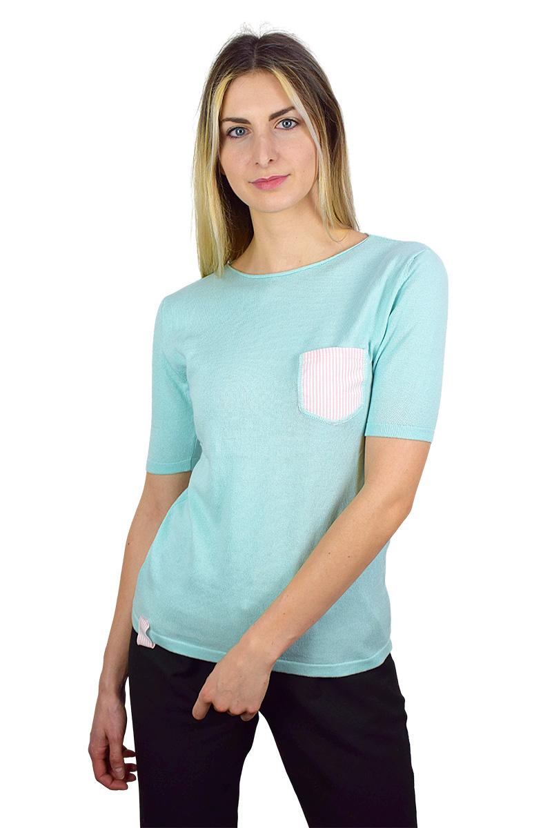 t-shirt tiffany con taschino rosa/bianco cotone bio da donna3