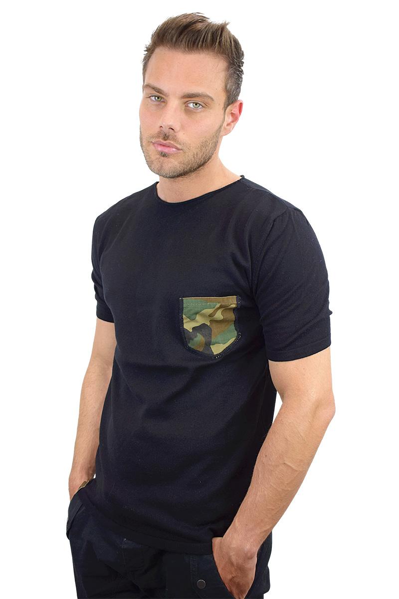 t-shirt nera con taschino militare cotone bio da uomo3
