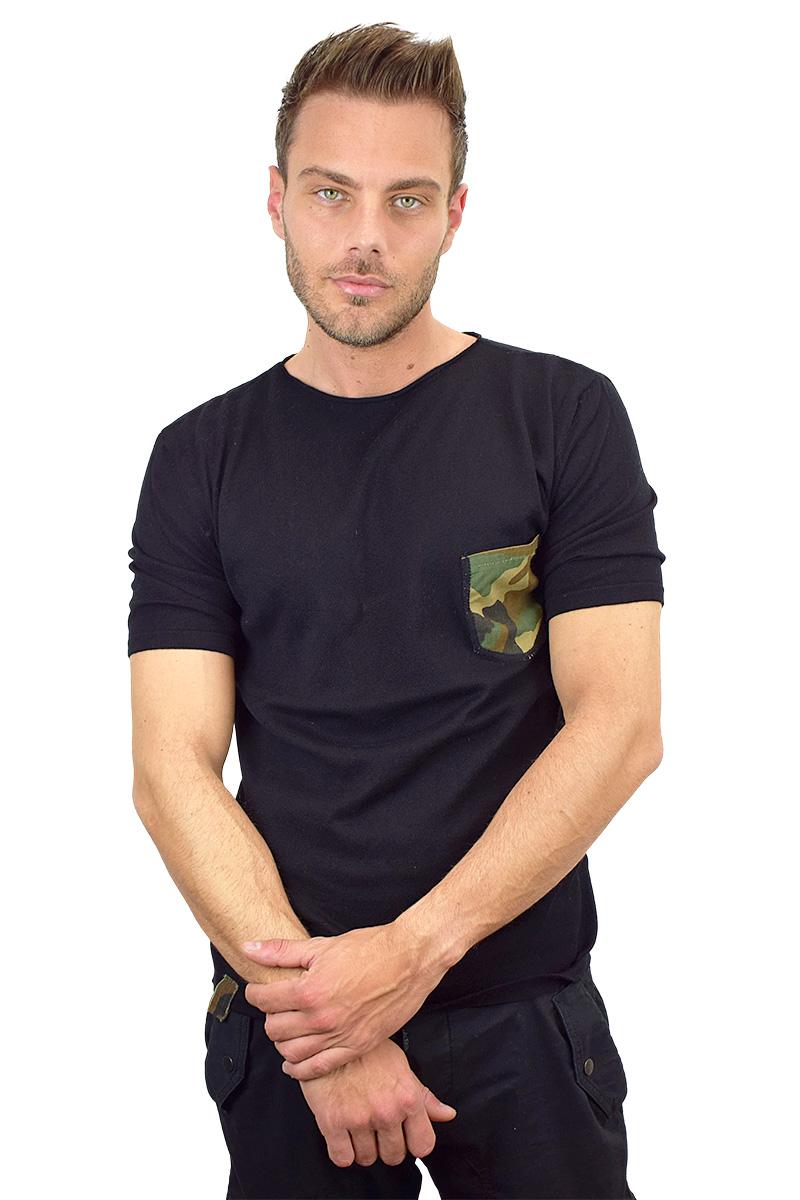 t-shirt nera con taschino militare cotone bio da uomo