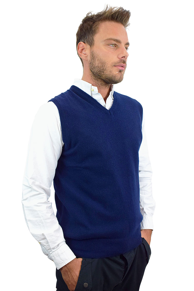 gilet blu in cashmere per uomo3