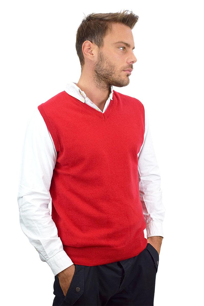 gilet rosso in cashmere per uomo2