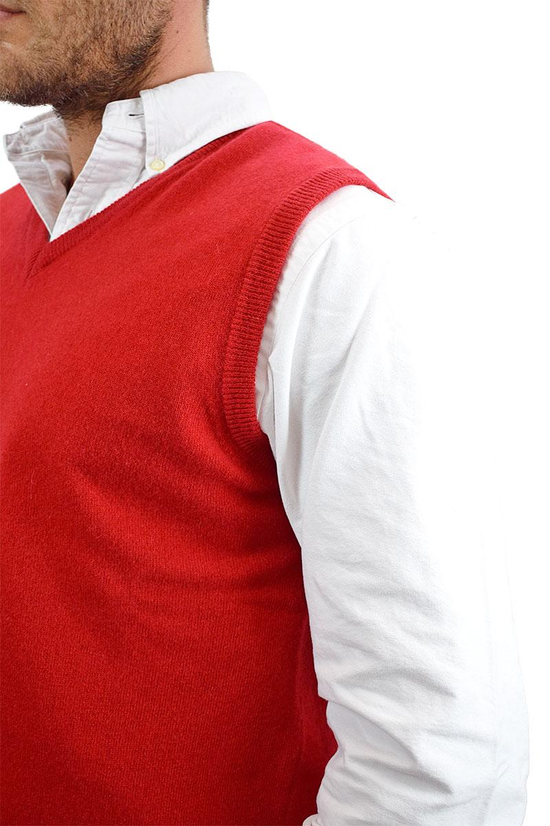 gilet rosso in cashmere per uomo